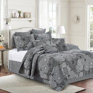 Full/Queen 3pc Quilt Set Kyoto Black and White